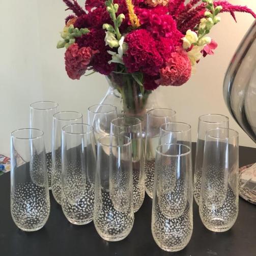 Stemless champagne glass standard confetti navy blue