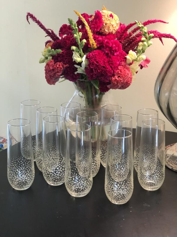 Stemless champagne glass standard confetti rose gold