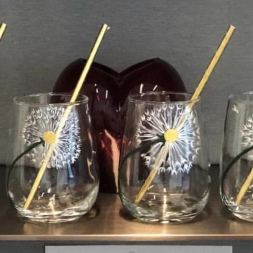 Stemless wine glass 15 ounce dandelion