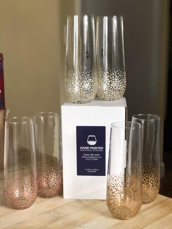 Stemless champagne glass standard confetti antique gold